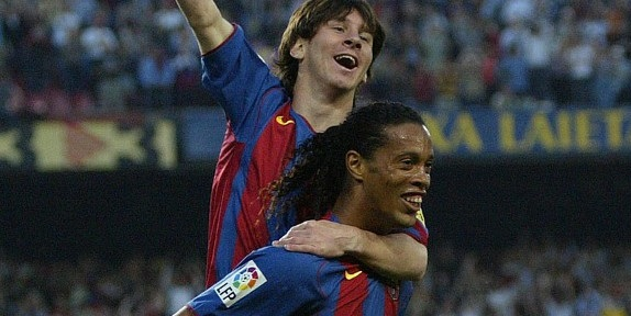 In 2004-05 season Messi turned professional for Barcelona and scored his first league goal.