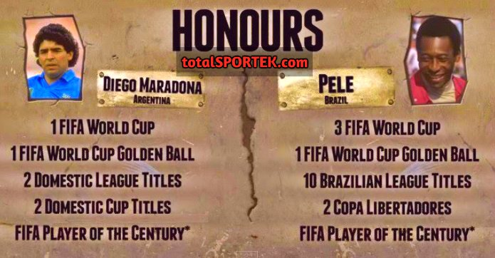 Pele vs Maradona Titles honours
