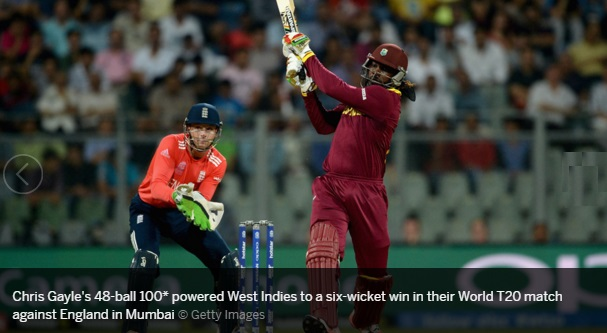 Chris Gayle 100 of 47 balls inning video vs England world T20